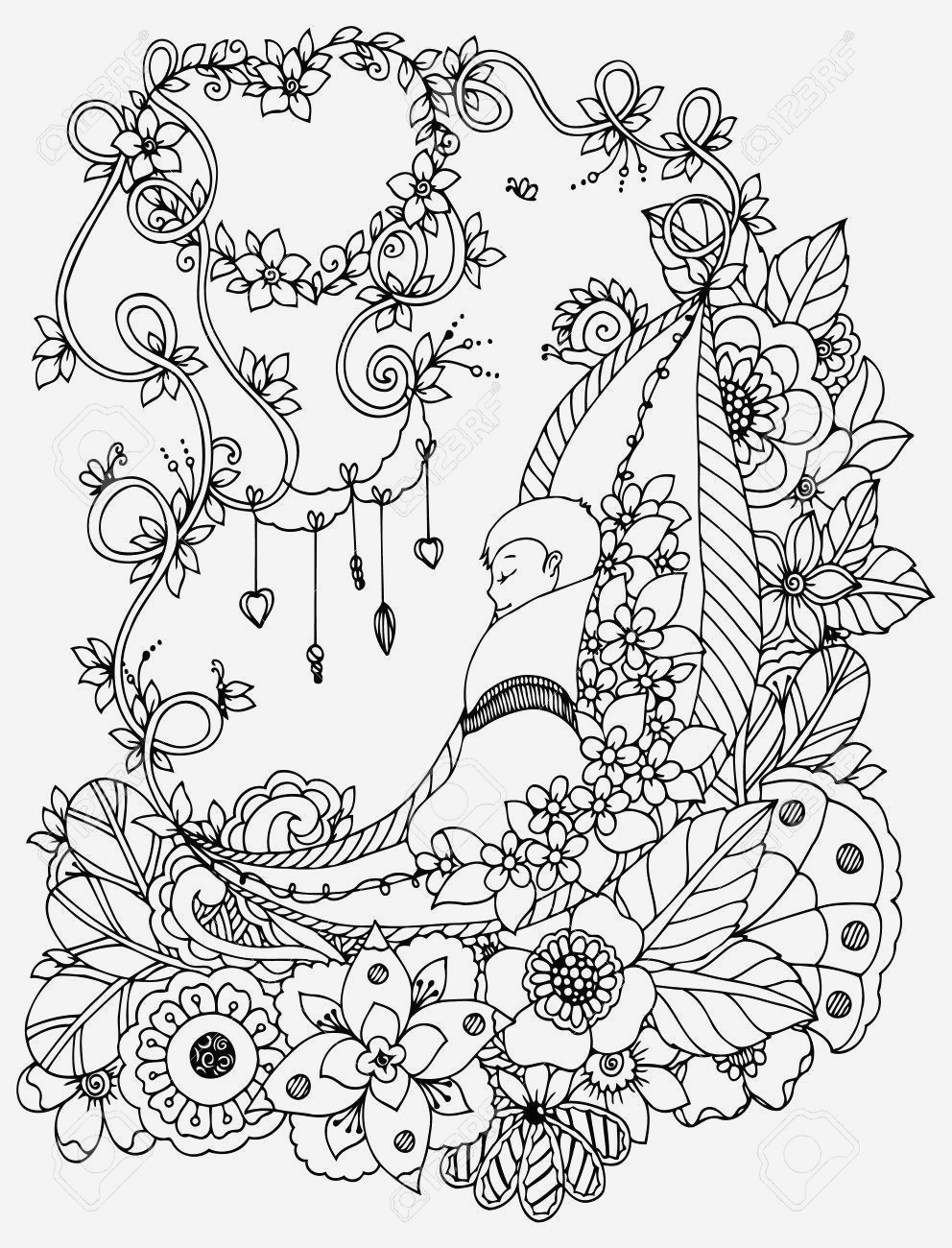 Coloriage Adulte Anti Stress Best Of Vector Illustration Zentangl the Baby is Sleeping In the Flowers