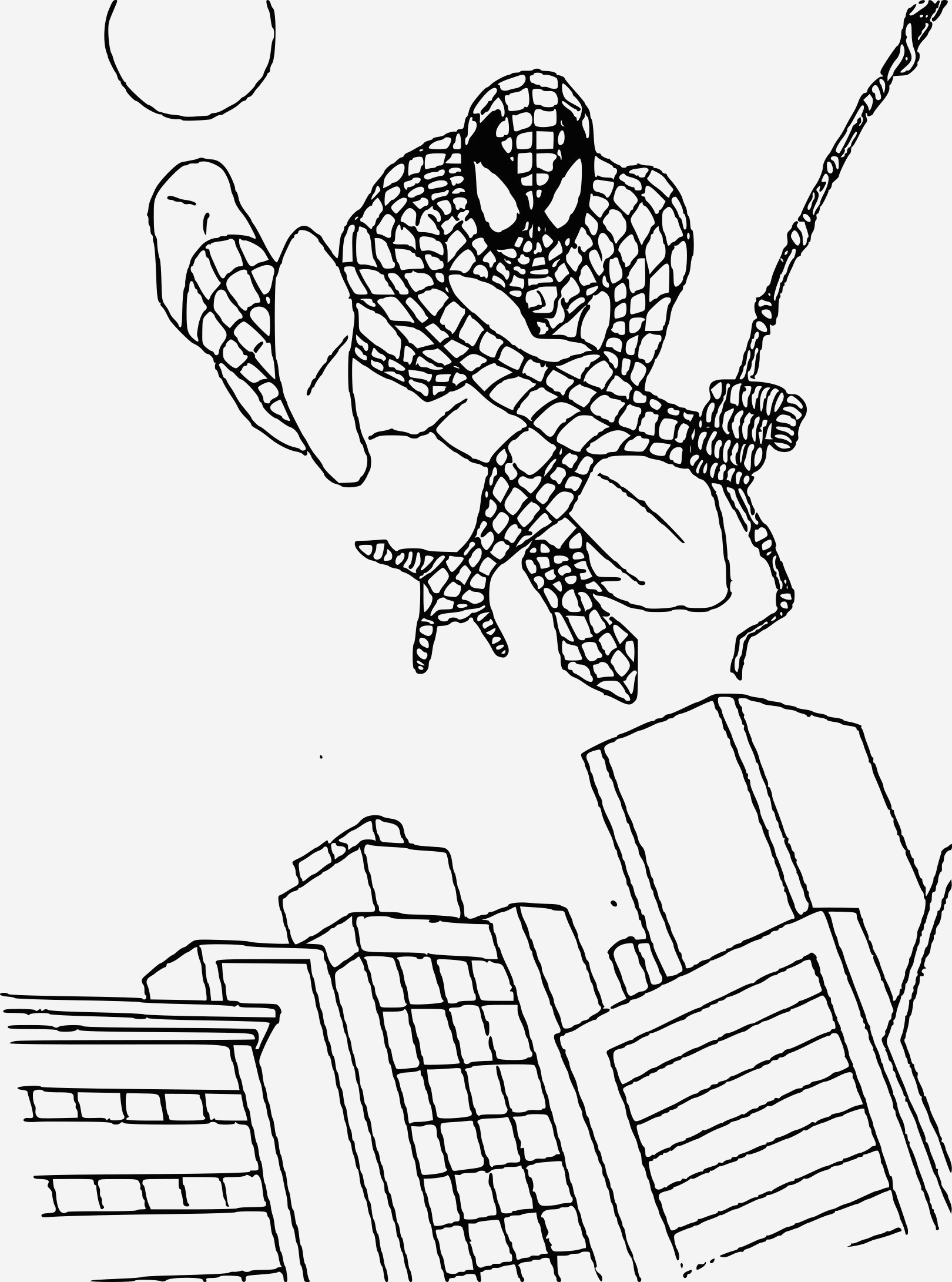 Coloriage De Spiderman New Coloriage Spiderman Au Dessus De La Ville   Imprimer Sur Of Coloriage De Spiderman