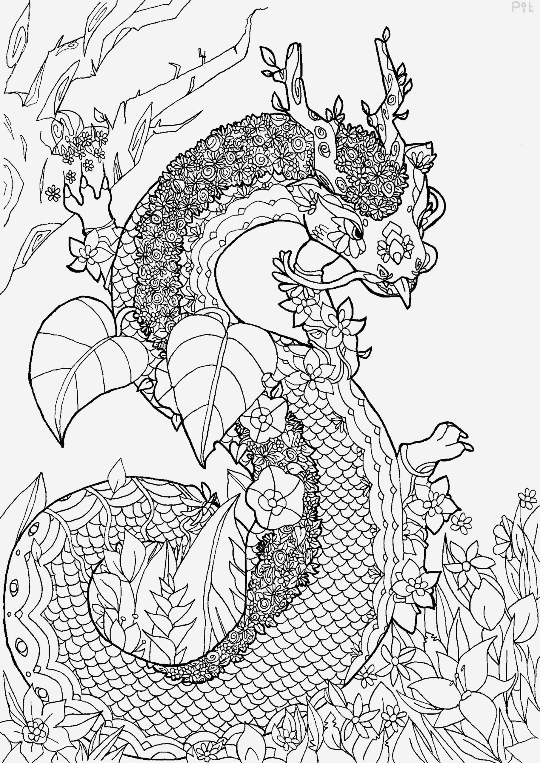 Coloriage Dragon Chinois Best Of Dragon Fleuri Valentin Coloriages Difficiles Pour Adultes Of Coloriage Dragon Chinois