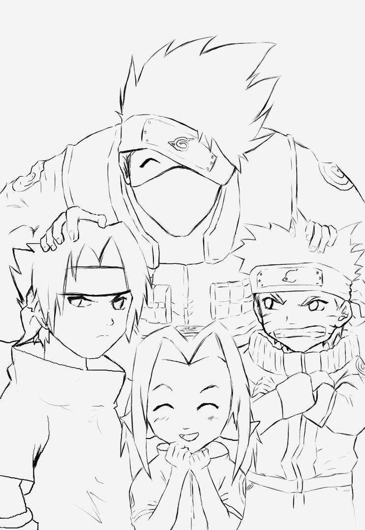 Coloriage Naruto Et Kakashi Beautiful Naruto Team 7 Coloring Pages Of Coloriage Naruto Et Kakashi