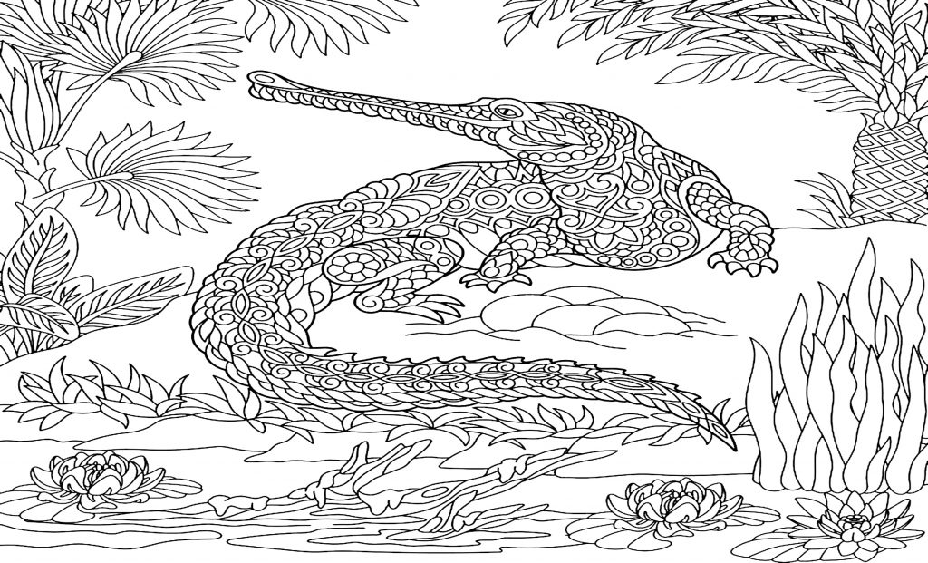 coloriage mandala crocodile