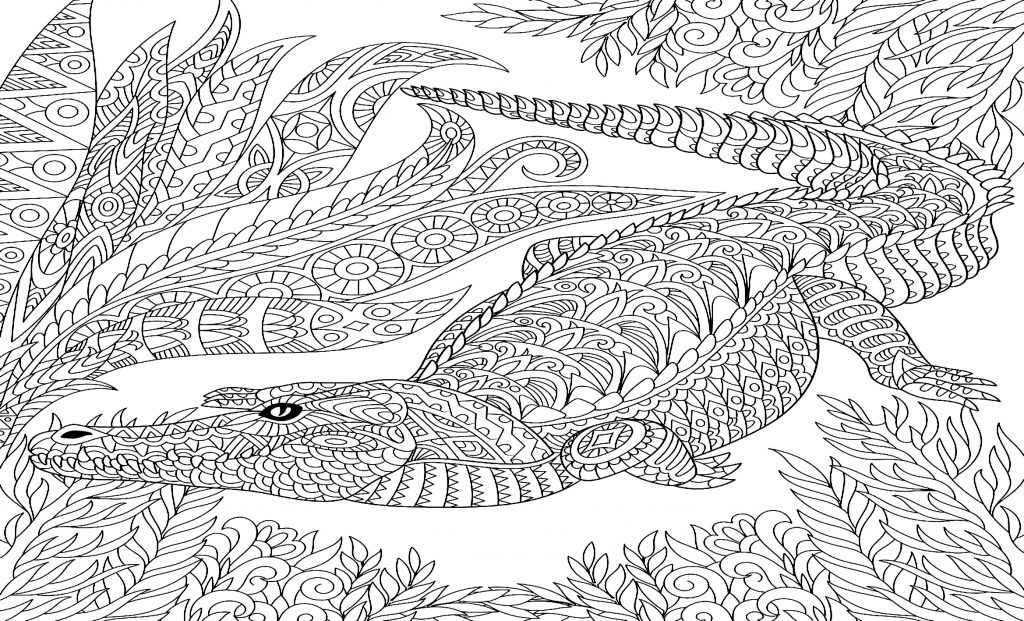 coloriage crocodile mandala 2